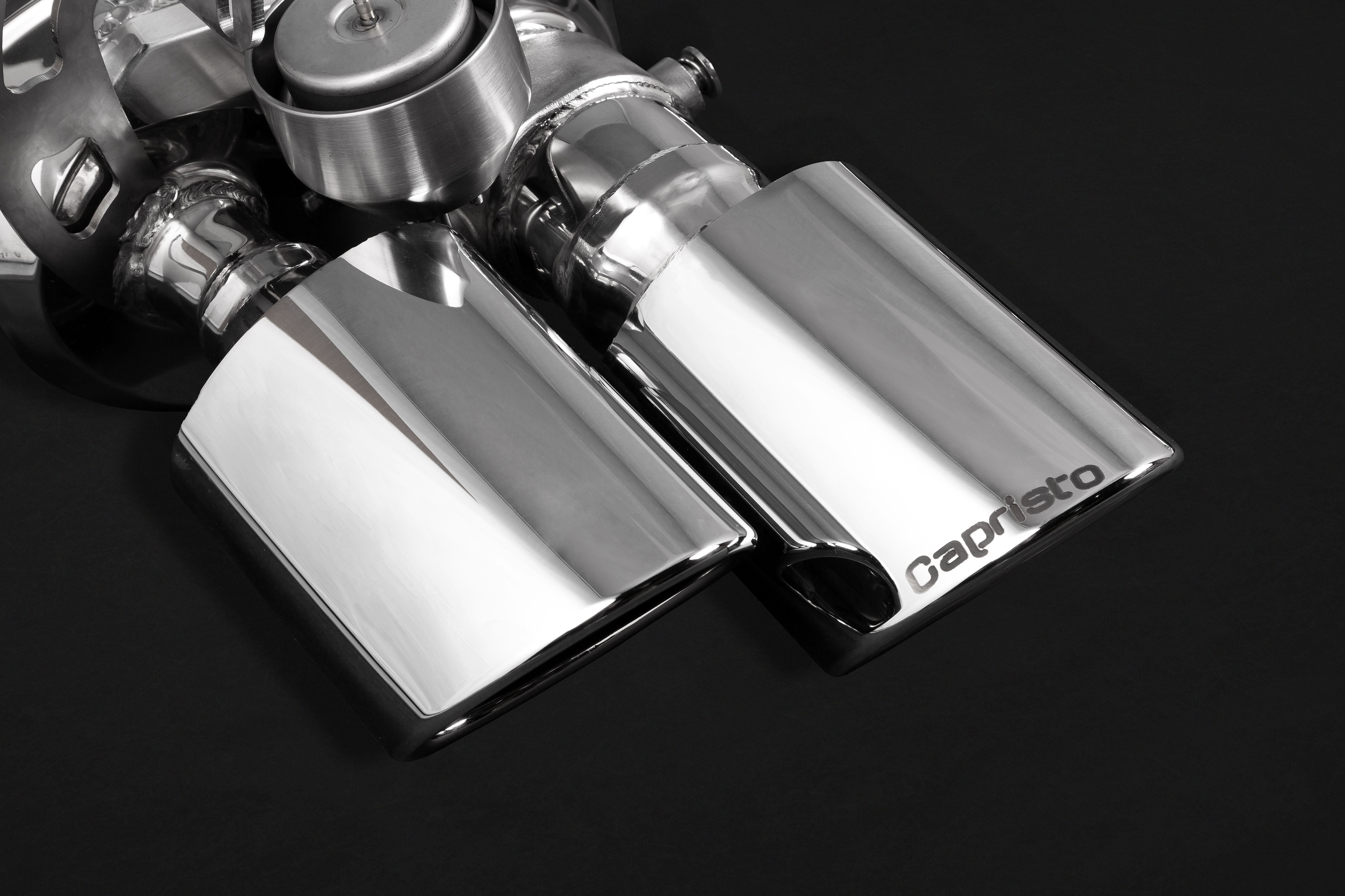 Porsche Panamera 971 Capristo Valved Exhaust Tips Close Up