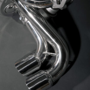 Ferrari 348 Capristo Valved Exhaust System Stainless Steel Tips Close Up